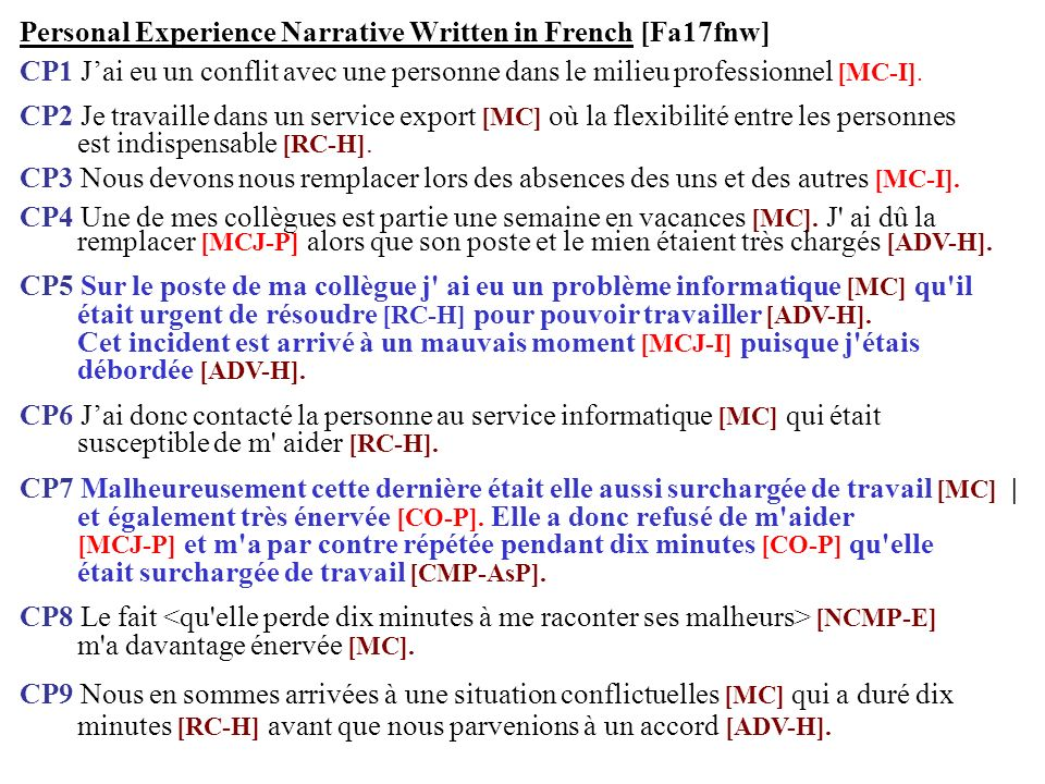 Personal Experience Narrative Written in French [Fa17fnw]